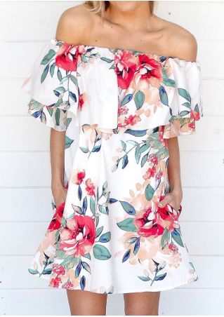 Floral Flouncing Off Shoulder Pocket Mini Dress