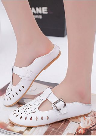 Solid Hollow Out Buckle Strap Flats