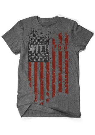 With You American Flag Printed T-Shirt