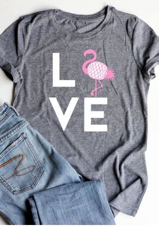 Love Flamingo Printed O-Neck T-Shirt