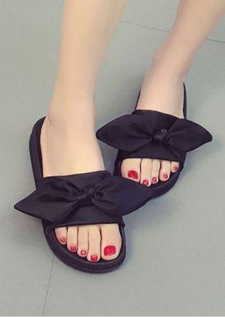 Solid Bowknot Flat Sandals
