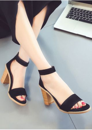 Solid Tassel Zipper Heeled Sandals