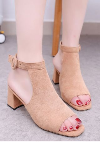 Solid Buckle Strap Fashion Heeled Sandals