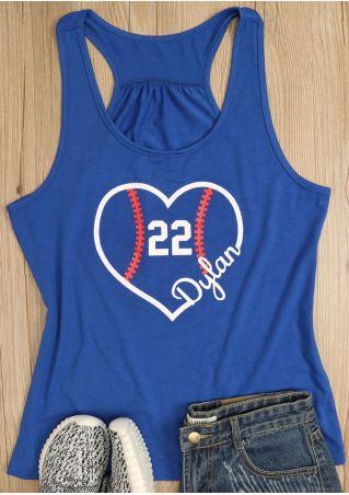 22 Heart Printed O-Neck Tank