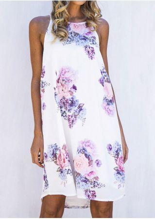 Floral Sleeveless O-Neck Mini Dress