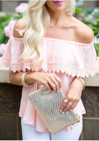 Solid Lace Splicing Flouncing Off Shoulder Blouse without Necklace