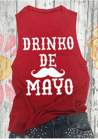 Drinko De Mayo Mustache Printed Tank