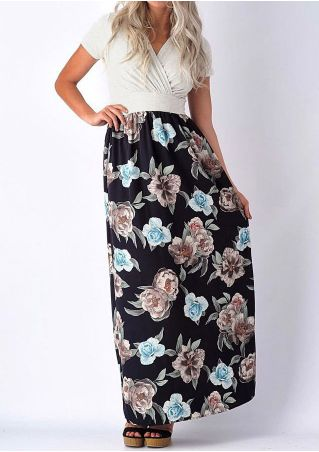 Floral Splicing Cross Maxi Dress