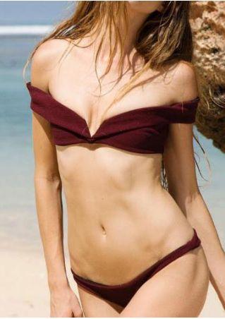 Solid Off Shoulder Bikini Set