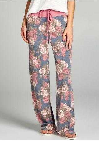 Floral Drawstring Elastic Waist Wide Leg Pants