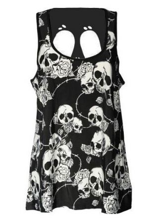 Floral Skull Printed Hollow Out Tank