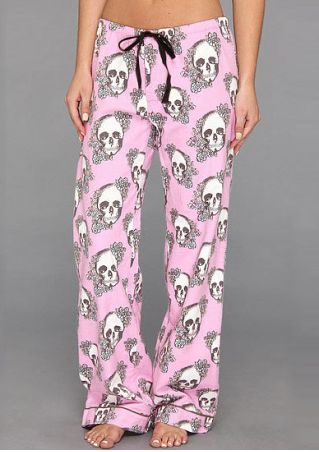 Floral Skull Printed Drawstring Wide Leg Pants