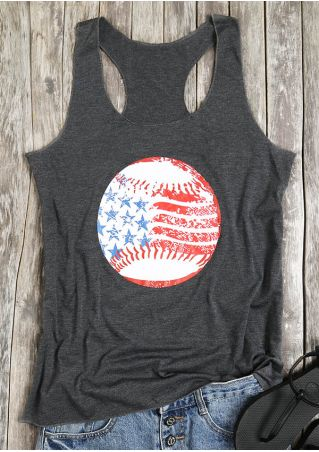 Baseball American Flag Printed O-Neck Tank