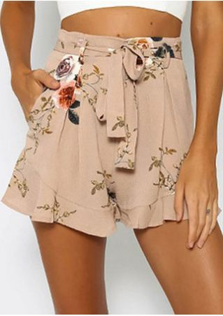 Floral Flouncing Pocket Shorts with Belt