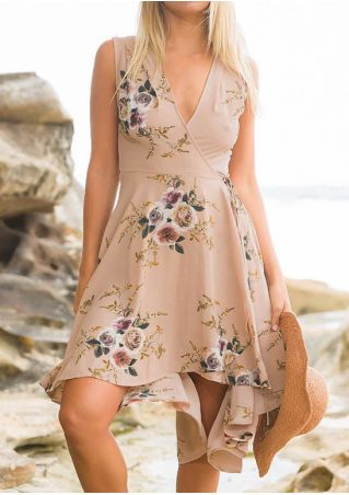 Floral Deep V-Neck Sleeveless Casual Dress