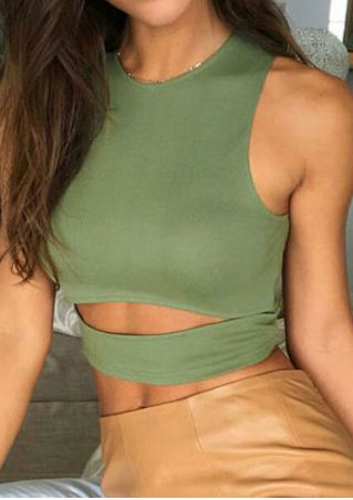 Solid Hollow Out Sleeveless Crop Top