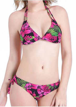 Floral Strappy Halter Sexy Bikini Set
