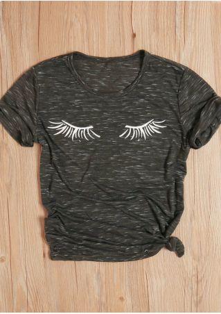 Eyes Printed O-Neck Short Sleeve T-Shirt