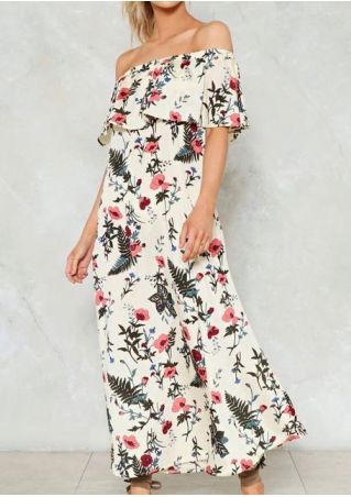 Floral Flouncing Layered Off Shoulder Maxi Dress