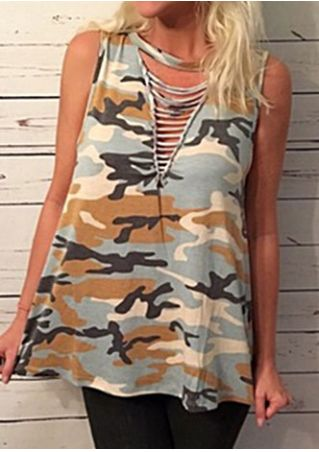 Camouflage Printed Hollow Out Tank