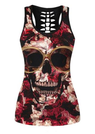 Floral Skull Hollow Out Tank