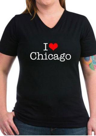 I Love Chicago V-Neck T-Shirt