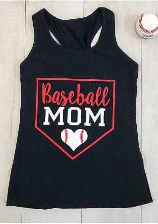 Baseball Mom Heart Racerback Tank