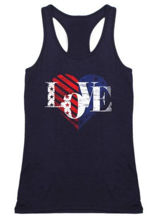 Love American Flag Printed Tank