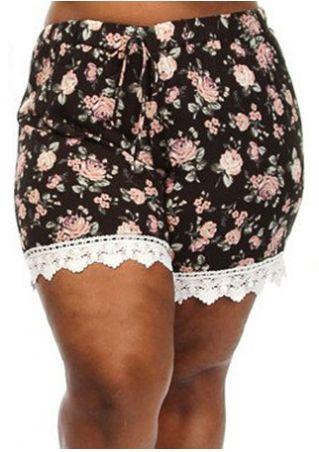 Floral Lace Splicing Drawstring Shorts