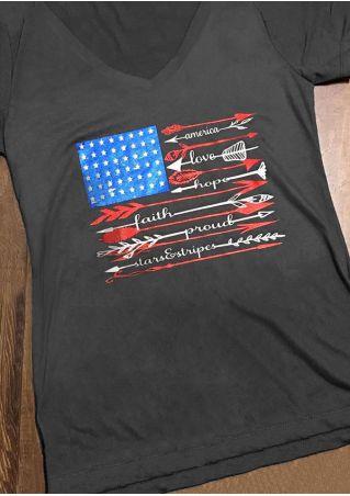 American Flag Hope Faith Arrow T-Shirt