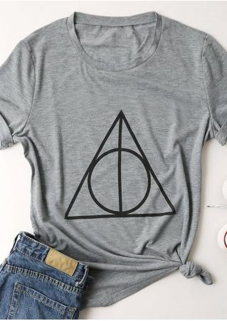 Deathly Hallows Printed O-Neck Short Sleeve T-Shirt