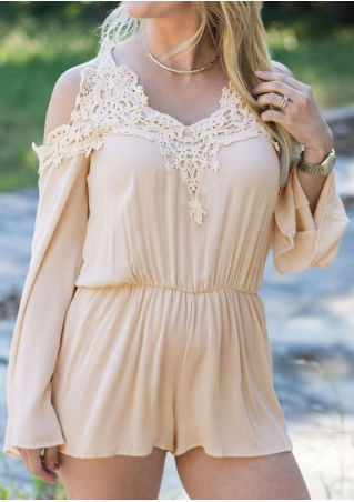 Solid Lace Splicing Cold Shoulder Romper without Necklace