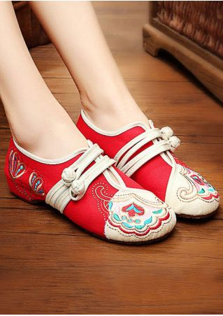 Embroidery Button Canvas Flats