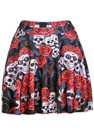 Floral Skull Printed Elastic Waist Skirt