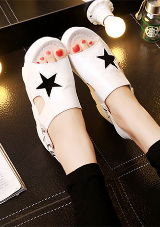 Star Buckle Strap Wedge Sandals