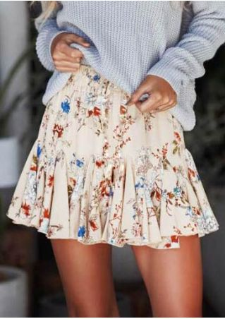 Floral Ruffled Elastic Waist Skirt