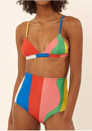 Color Block High Waist Bikini Set