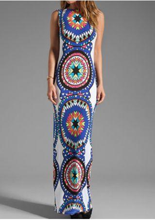Printed Backless Sleeveless Maxi Dress