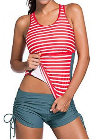 Striped Criss-Cross Hollow Out Tankini