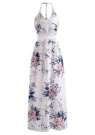 Floral Lace Splicing V-Neck Maxi Dress