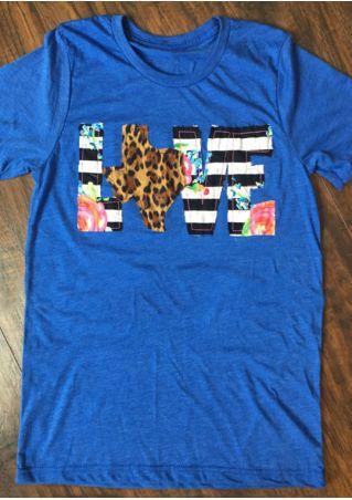 Love Splicing O-Neck Short Sleeve T-Shirt