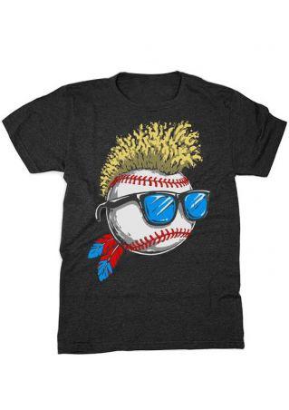 Wild Hair Glasses Baseball T-Shirt