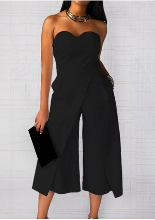 Solid Backless Strapless Jumpsuit without Necklace