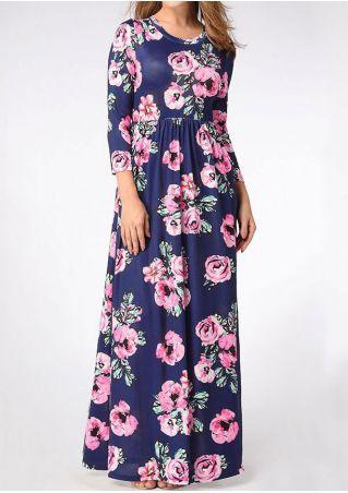 Floral Three Quarter Maxi Dress