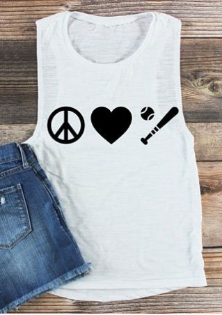 Heart Baseball O-Neck Tank