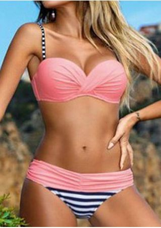 Striped Splicing Ruched Bikini Set
