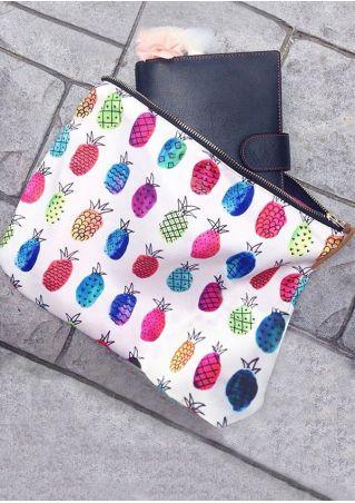 Pineapple Printed Zipper Clutch Bag