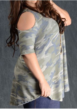 Camouflage Printed Cold Shoulder Blouse without Necklace