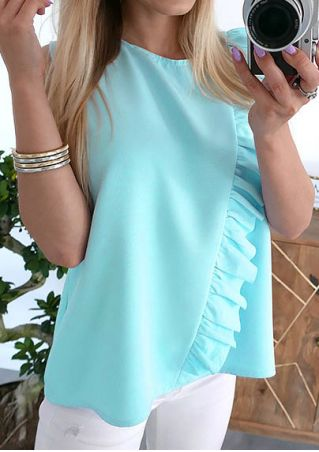 Solid Chiffon Flouncing Tank without Necklace
