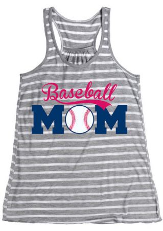 Striped Baseball Mom O-Neck Tank